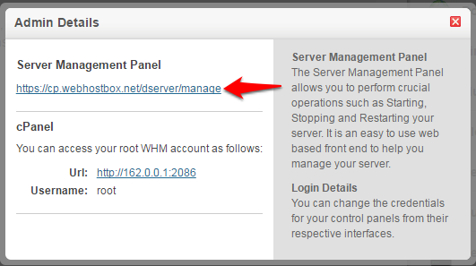 Accessing the Server Management Panel